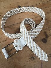 """PRELOVED 1980'S FAUX LEATHER & TWINE BRAIDED LEATHER 1 1/4"""" WIDE BELT - 36"""" MAX"""