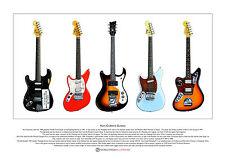 Kurt cobain's guitares limited edition fine art imprimé A3 taille