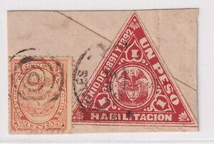 COLOMBIA - REVENUE - FOUR MIXED FRANKING PIECES - TRIANGULAR STAMPS - 1889/96 RR