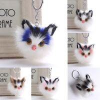 Cute Cat Keychain Pendant Women Key Ring Holder Pompoms Key Chains