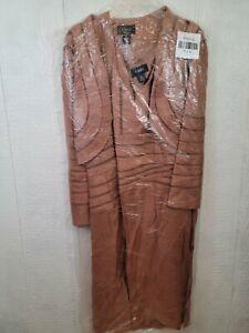 Ashro Womens Plus Bronze Dress & Jacket Set 26 (EE2)