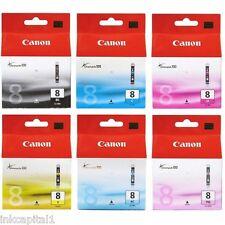 6 x ORIGINALE CARTUCCE A GETTO D'INCHIOSTRO PIXMA (pgi-5pk & CLI-8) per Canon IP6600, IP 6600