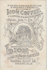 Coffee advertising card WOOLSON SPICE Co Toledo Ohio USA showing lion coffee