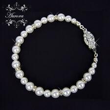 Swarovski Crystal Elements White Pearl Graduated Bracelet Wedding Bridal Vintage