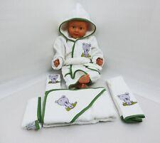 Baby Handtuch Set mit Bademantel Bär-Motiv weiß - grün 5-teilig 100% Baumwolle