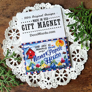 Nana Papa DECO MAGNET Magnet Fridge Art  Gift New in Pkg All Relatives Here USA