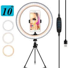 "10"" LED Selfie Ring Light Live Makeup Tripod Phone Holder Desktop Video Lamp"