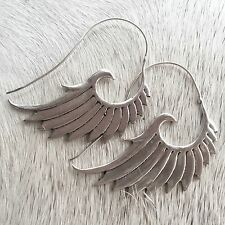Silver Plated Goddess Wings Feather Tribal Earrings