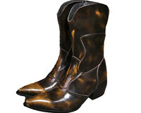 US Size 5-12 Brown Fashion Genuine Leather Pointed Cowboy Tall Boots Mens Shoes
