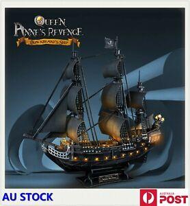 "CubicFun 3D Puzzles 26.6"" Pirate Ship with 15 LED Queen Anne's Revenge Model"