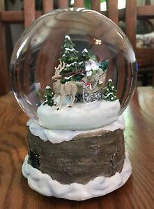 "Vintage Hallmark Santa In Sled & Reindeer 6"" Music Snow Globe-White Christmas"