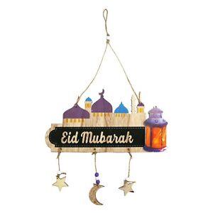 Eid Mubarak Moon, Mosque & Lantern Wooden Hanging Door Plaque Decoration