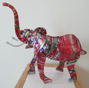 Recycled Tin Can Elephant -Hand Made in Africa- Fanta/Coca Cola-Unusual Gift