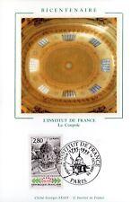 2973+CARTE MAXIMUM FRANCE 1er JOUR SUR SOIE   BICENTENAIRE INSTITUT DE FRANCE
