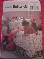 BUTTERICK 4414 GIRLS' BEDROOM HOME DECOR DUVET COVER PILLOWS PATTERN UNCUT!