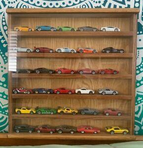 HW Hot Wheels Matchbox Wood HANDMADE Display Case 1/64 Scale 30 CARS INCLUDED !!