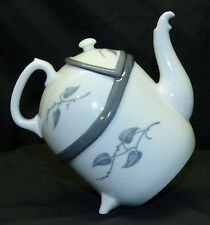 Old Rosenthal Germany Unusual Unique Shape Porcelain Teapot w/ Gray Ivy Leaves