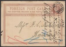 GERMANY, 1876. Incoming Post Card H&G 4, Manchester - Hamburg