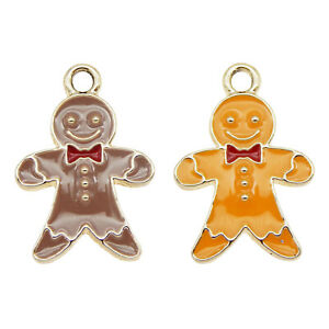 12PCS/Pack Enamel Mixed Brown&Yellow Gingerbread Man Charms Pendant DIY Findings