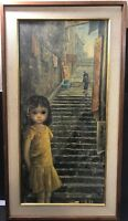 Vintage Big Eyed Girl Of China Lithograph Walter Keane Large Framed Print