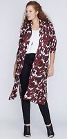 Lane Bryant Womens Open Front Long Knit Duster Cardigan Camo Print Sz 22 24