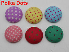 50 Mixed Color Flatback Polka Dots Fabric Covered Round Buttons 15mm Cabochon