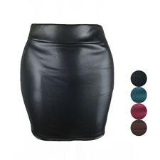 Women Mini Leather Skirt Pencil Skirt Short Sexy High Waist Bandage Slim Skirts