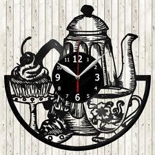 Tea Time Vinyl Record Wall Clock Decor Handmade 1609