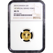2014 $5 Canadian Gold First Special Forces 1/10oz .9999 NGC MS70 Brown Label