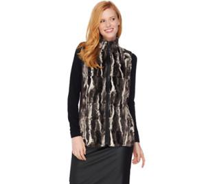 Susan Graver Faux Fur Zip Front Vest-A282086-NEW