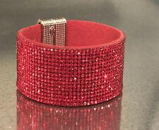 Swarovski Elements Bracelet Red Crystal Alcantara Leather Wide Magnetic Cuff