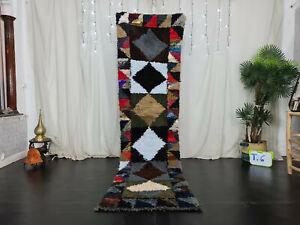 "Moroccan Vintage Handmade Runner Rug 2'5""x9'4"" Geometric Berber Black Cotton Rug"