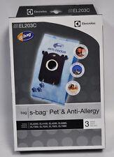 3 VACUUM BAGS, ELECTROLUX TYPE S BAGS PET & ANTI ALLERGY # EL203C-4