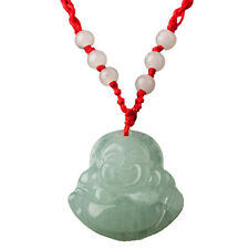 Red String Green Faux Jade Buddha Pendant Jewelry Necklace O3I5