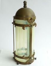 More details for antique / vintage ceiling brass pendant electric light with glass shade