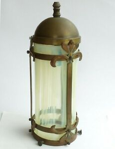 Antique / vintage CEILING BRASS PENDANT ELECTRIC LIGHT with glass shade