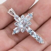 EARTH MINED 7X5MM SKY BLUE TOPAZ CROSS DESIGN RARE STERLING SILVER 925 PENDANT