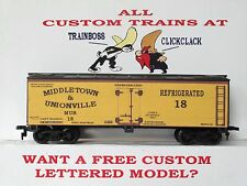 Ho Custom Lettered Middletown & Unionville Rr Boxcar Freight Car Reefer. Lot 1A