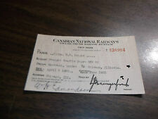 APRIL1935 CANADIAN NATIONAL EMPLOYEE TRIP TICKET MONTREAL TO CHICAGO