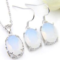 Dazzling Oval Rainbow Moonstone Silver Dangle Earrings Necklaces Jewelry Sets