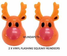 2 X GOODBOY PAWSLEY CHRISTMAS FLASHING REINDEER VINYL TOY WITH SQUEAKER 10864
