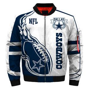 DALLAS COWBOYS Men's Bomber Jacket Hooded Jackets S-5XL Football Team Fans NEW