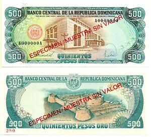 DOMINICAN REPUBLIC 500 Quinientos (SPECIMEN) 1988, Pick 129s, UNC *XRARE*