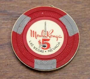1955 First edition $5 Moulin Rouge, Eiffel Tower, Poker Chip, Las Vegas