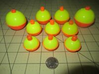 10 ASSORTED FISHING BOBBERS Round Floats Flourescent SNAP-ON FLOAT ASSORTMENT