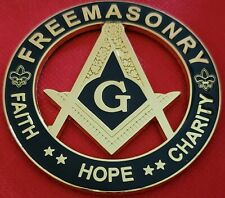 "Masonic Master Mason 3"" FAITH HOPE CHARITY Car Auto Emblem BLACK // GOLD PLATED"