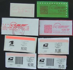 8 old United States postage labels