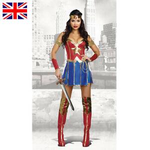 Wonder Woman Adult Superhero Halloween Party Fancy Dress Womens Costume S-2X UK