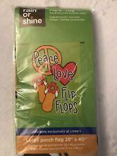 Large Porch Flag Peace Love Flip Flops