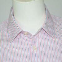 CHARLES TYRWHITT Slim Fit Pink White Stripe Cotton Dress Shirt Sz 16.5 - 33